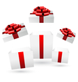 Opened gift boxes on grayscale vector image