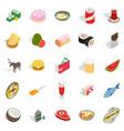 sandwich icons set isometric style vector image