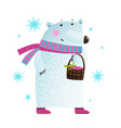white bear with berries and snowflakes vector image