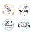 Winter holidays hand lettering set vector image