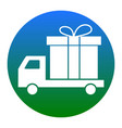 delivery gift sign  white icon in bluish vector image