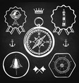 blackboard compass bell lighthouse marine nautical vector image