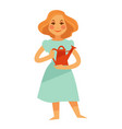 woman holding red watering pot isolated on white vector image