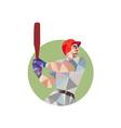 Baseball Batter Batting Circle Low Polygon vector image