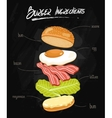 Burger Ingredients on Chalkboard vector image