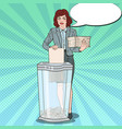 pop art secretary woman destroying paper documents vector image