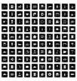 100 hotel icons set grunge style vector image