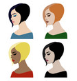 beautiful woman faces with different make-up and h vector image vector image