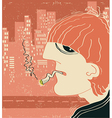 Smoking man in big city vector image vector image