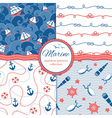Marine patterns set vector image