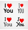 I love you with red heart sign set vector image