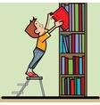 Boy book library reading vector image