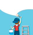 Painter Colouring Wall By Paintbrush vector image