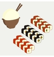Japanese cuisine dishes sushi rolls vector image