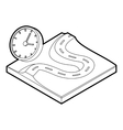 Road and clock icon outline style vector image