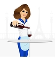 young smiling waitress pouring red wine vector image