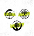 zen tree collection forest fog happiness painting vector image