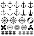 anchors rudders chain rope knot icons vector image vector image