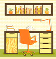 home library with table vector image