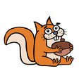 Cute squirrel found a big nut and smiles happily vector image