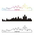 Detroit skyline linear style with rainbow vector image