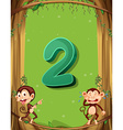 Number two with 2 monkeys on the tree vector image vector image