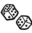 black and white freehand drawn dices vector image vector image