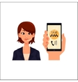 Call center operator hand holding smartphone with vector image