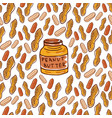 Cute seamless pattern with peanuts and butter jar vector image