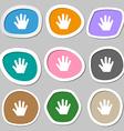 Hand icon symbols Multicolored paper stickers vector image