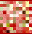 seamless colorful pattern of squares and hearts vector image