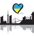 Kiev City skyline silhouette and Eurovision flag vector image