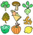 doodle of fresh vegetables various set vector image