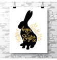 poster with a handwritten phrase-happy easter on vector image