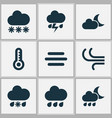 meteorology icons set collection of wet breeze vector image