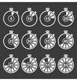 White Timer Icos Set vector image vector image