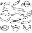 Hand Draw Ribbon Set vector image