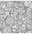 Seamless nature pattern with line flowers for vector image vector image