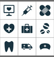 antibiotic icons set collection of injection vector image