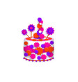 birthday cake decorated with stars and icing vector image