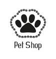 Pet shop logo with pet paw vector image