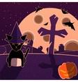 Purple and orange halloween landscape vector image