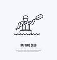 rafting kayaking flat line icon vector image