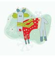 retro christmas reindeer card vector image