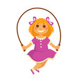 Smiling small girl jumps with skipping rope vector image