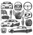 vintage car racing icons set vector image