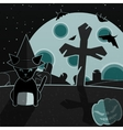 Green and gray halloween landscape vector image