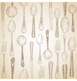 Hand drawn silverware icons seamless pattern vector image vector image