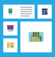 flat icon window set of curtain glass frame vector image