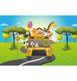 A group of happy animals travelling vector image